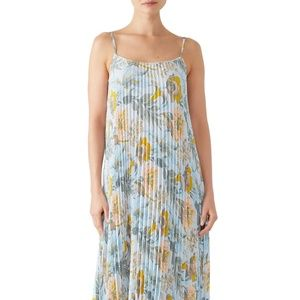 Vince Marine Garden Pleated Long Cami Dress XS